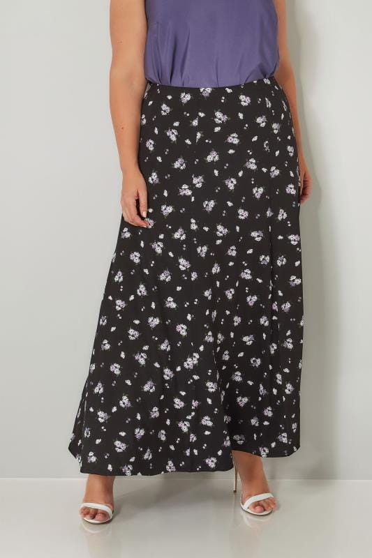 Plus Size Maxi Skirts Black & Purple Floral Print Maxi Skirt