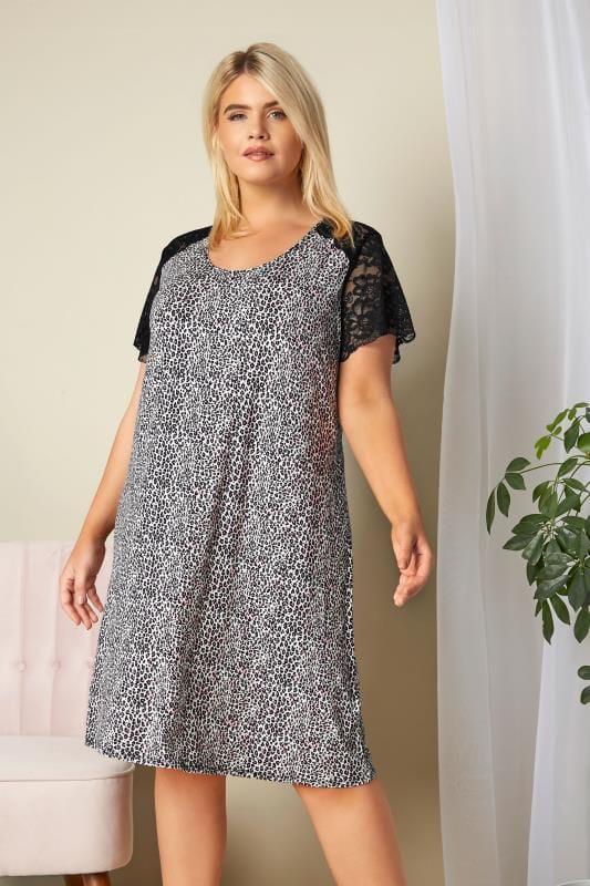 Plus Size Nightdresses & Chemises Black & Purple Leopard Print Lace Loungewear Nightdress