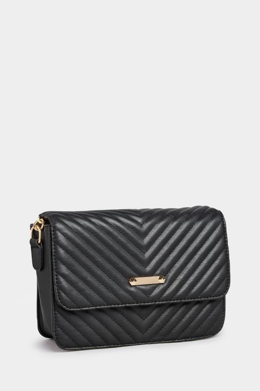Black Quilted Chevron Cross Body Bag
