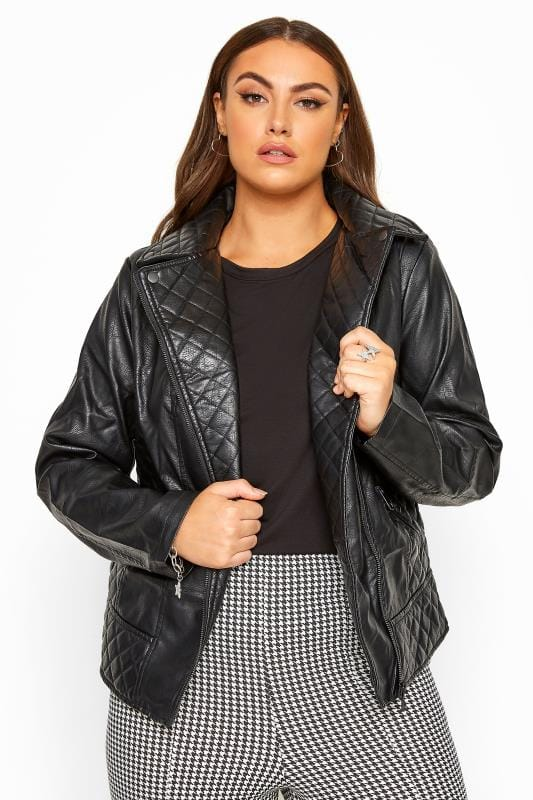 Black Quilted Vegan Leather Biker Jacket