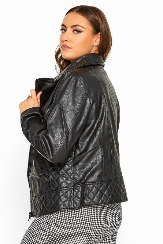 Großen Größen Jackets Black Quilted Vegan Leather Biker Jacket