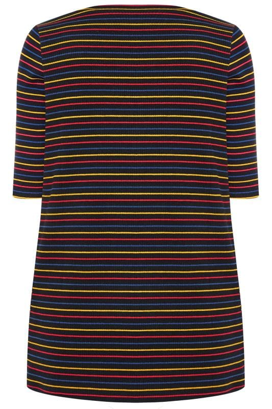 Black Rainbow Striped Ribbed Jersey Top