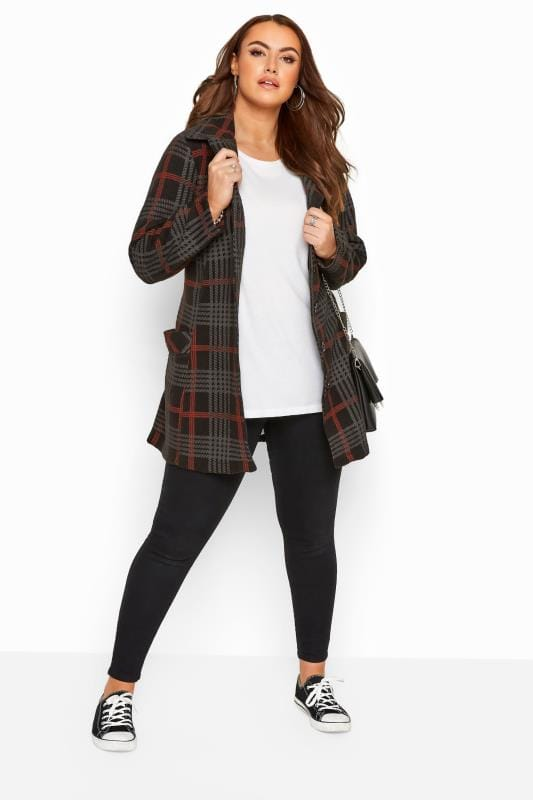 Black & Red Check Revere Collar Fleece Coat