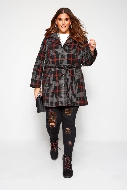 Black & Red Check Revere Collar Fleece Coat