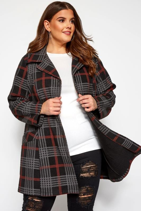 Plus Size Coats Black & Red Check Revere Collar Fleece Coat