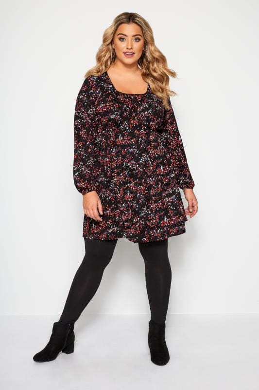 Black & Red Ditsy Floral Tunic