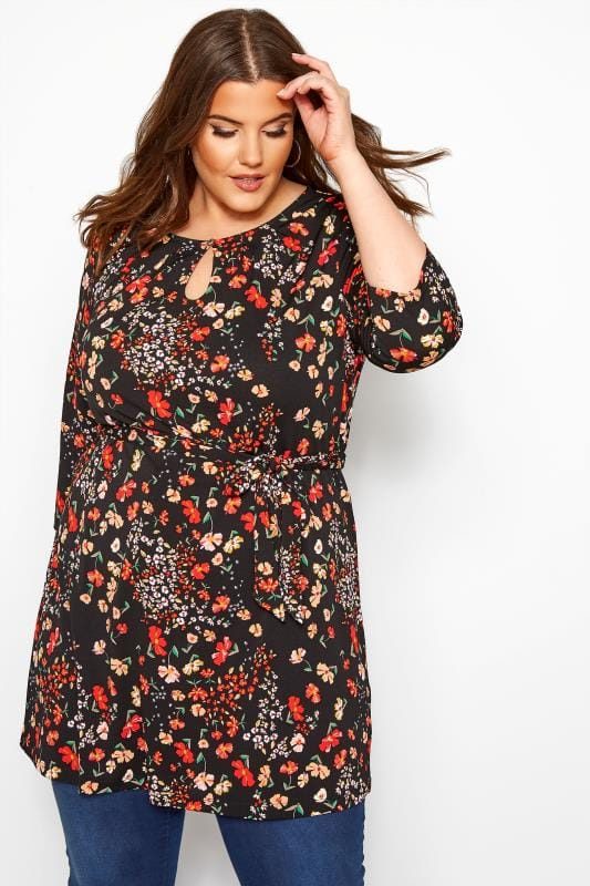 Plus Size Jersey Tops Black & Red Floral Belted Tunic