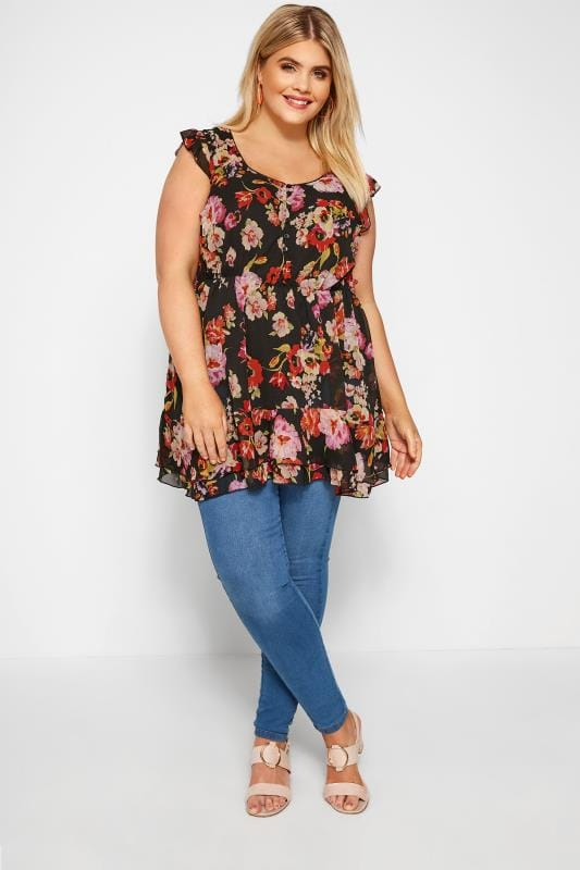 Black & Red Floral Chiffon Smock Top