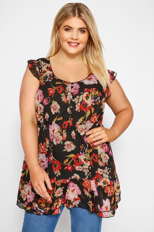 Plus Size Gypsy Tops Black & Red Floral Chiffon Smock Top