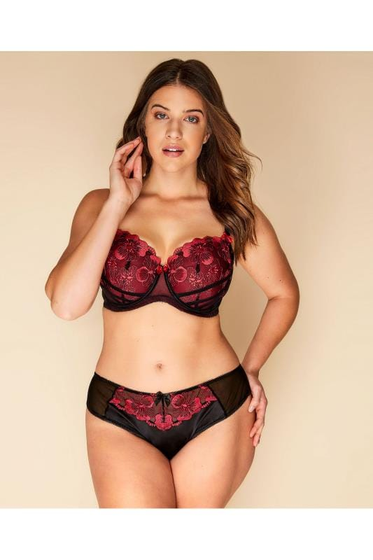 Black & Red Floral Embroidered Brazilian Briefs