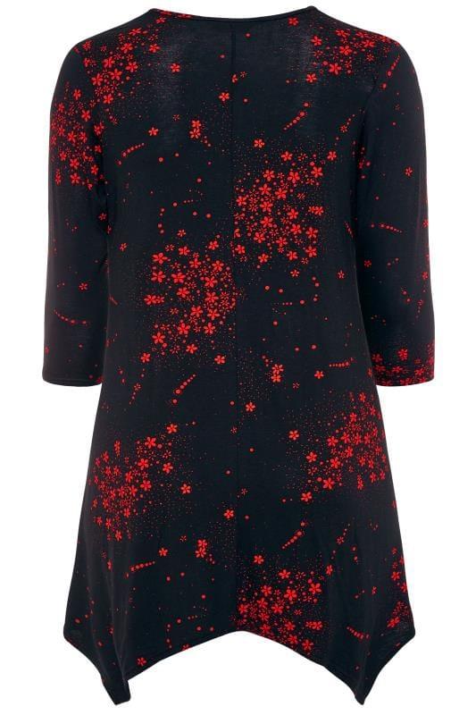 Black & Red Floral Hanky Hem Top