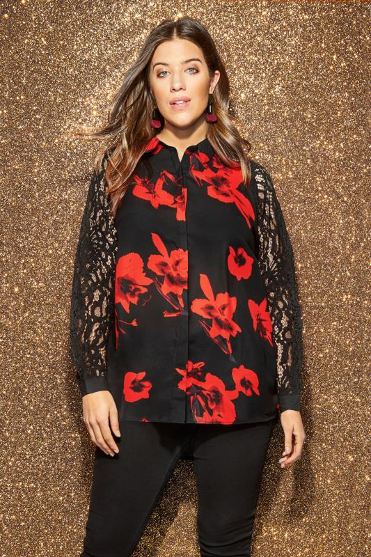 Black & Red Floral Lace Shirt