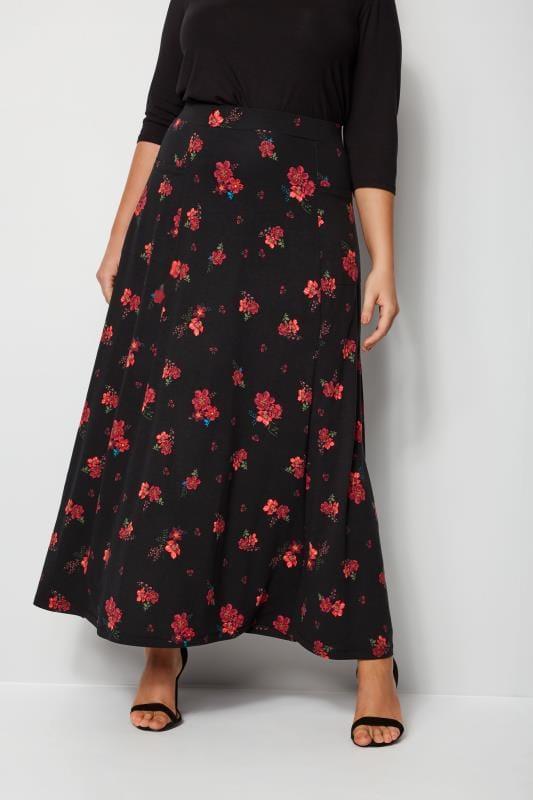 Maxirock mit Blumenprint - Schwarz/Rot