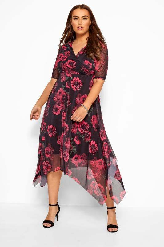 Black & Red Floral Mesh Wrap Dress