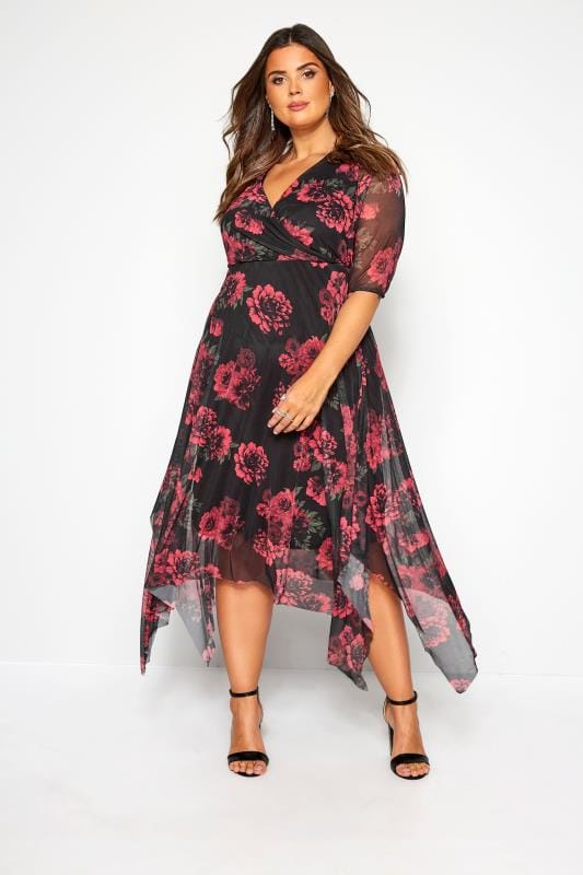Plus Size Floral Dresses Black & Red Floral Mesh Wrap Dress