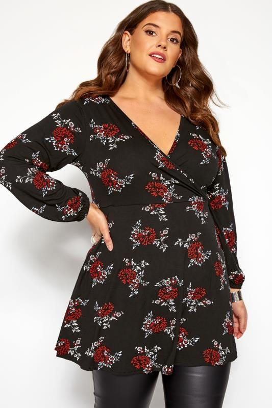 Большие размеры | Floral Tops Black & Red Floral Print Longline Wrap Top