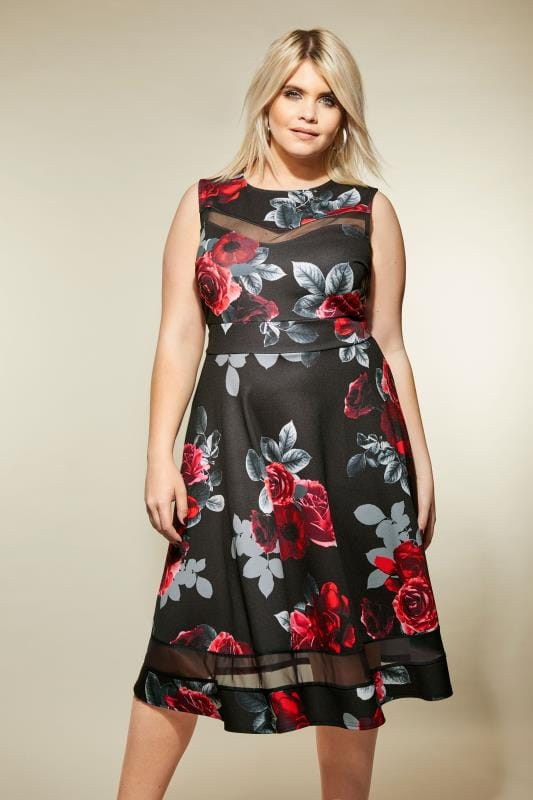 Black & Red Floral Scuba Skater Dress, Plus size 16 to 36
