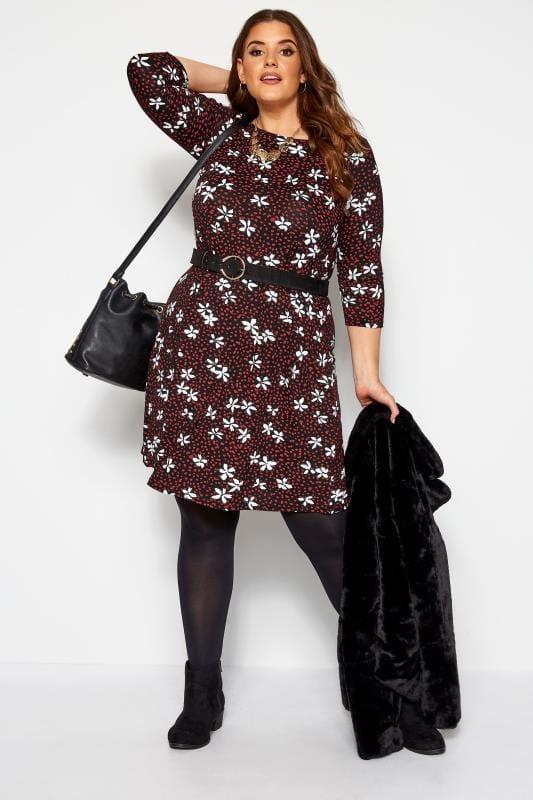 Black & Red Floral Spot Swing Dress