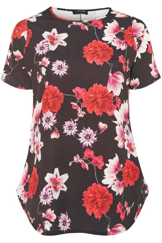Black & Red Floral Top