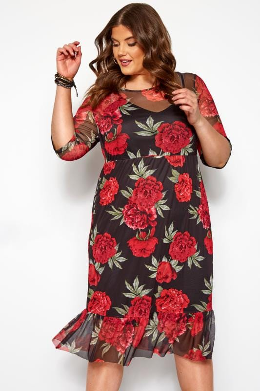 Plus Size Floral Dresses Black & Red Mesh Floral Ruffle Dress