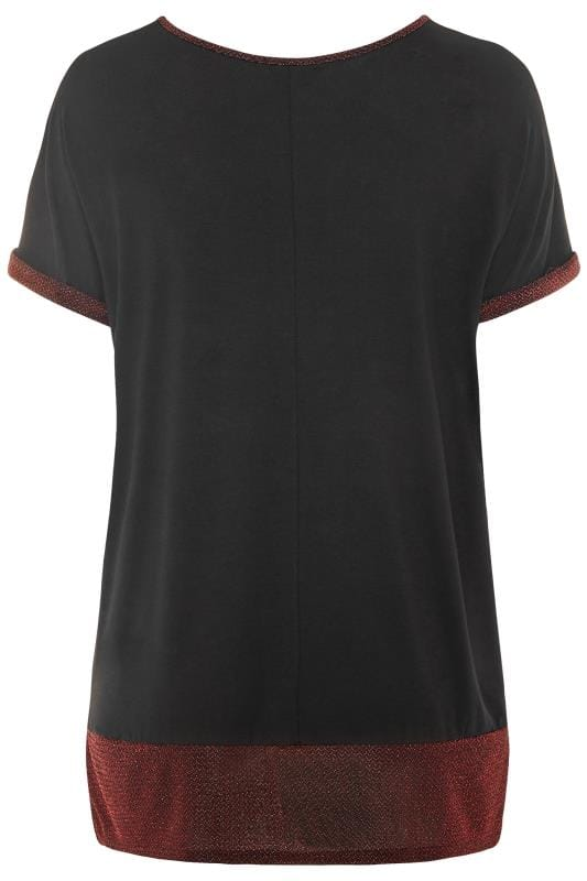Black & Red Metallic Sparkle Trim Top
