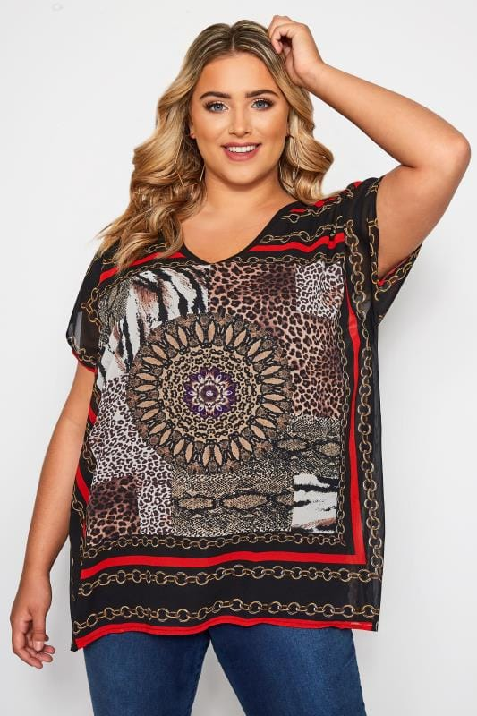 Plus Size Blouses & Shirts Black & Red Mixed Print Top