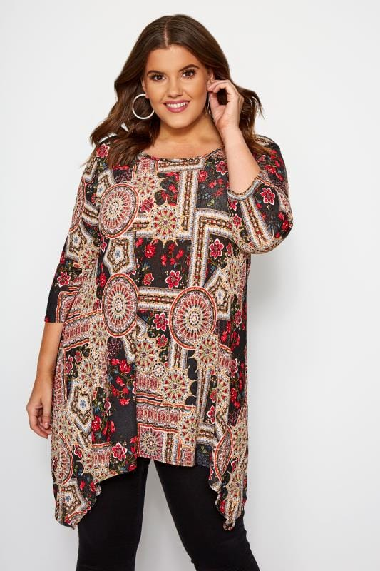 Plus Size Jersey Tops Black & Red Mixed Tile Print Swing Top