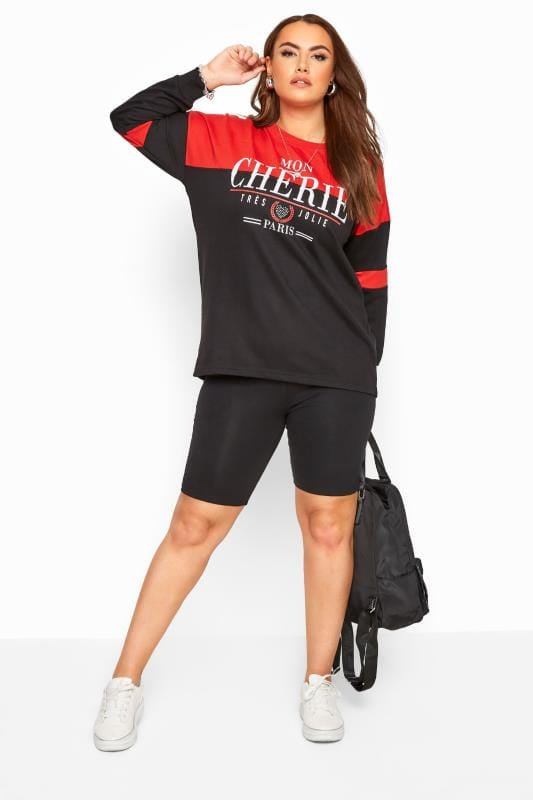 Black & Red Slogan Colour Block Sweatshirt