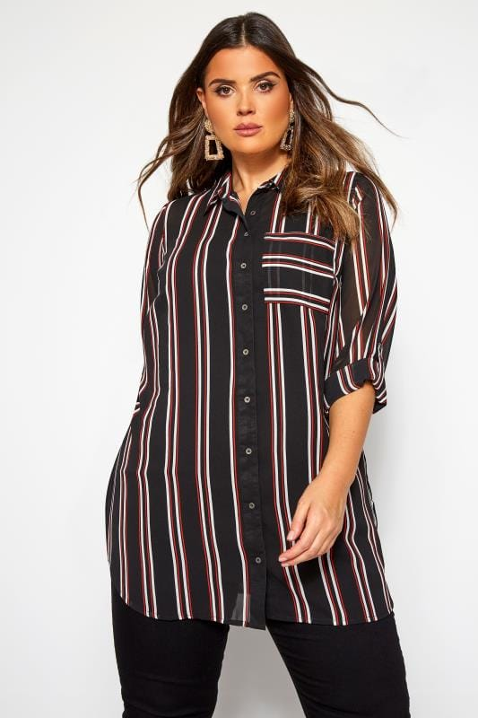 Blouses & Shirts Black & Red Striped Oversized Boyfriend Shirt