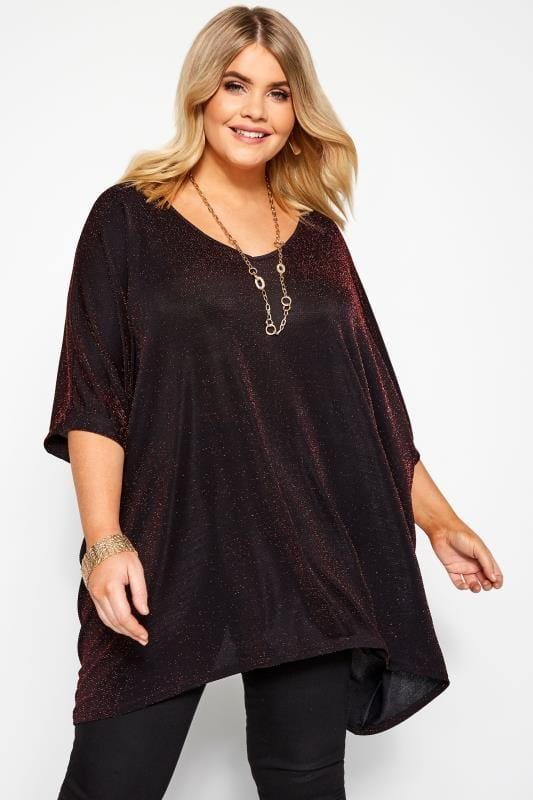 Plus Size Party Tops Black & Red Textured Metallic Cape Top