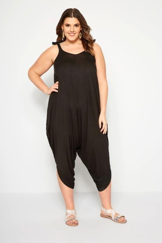 Plus Size Jumpsuits Black Relaxed Jersey Jumpsuit