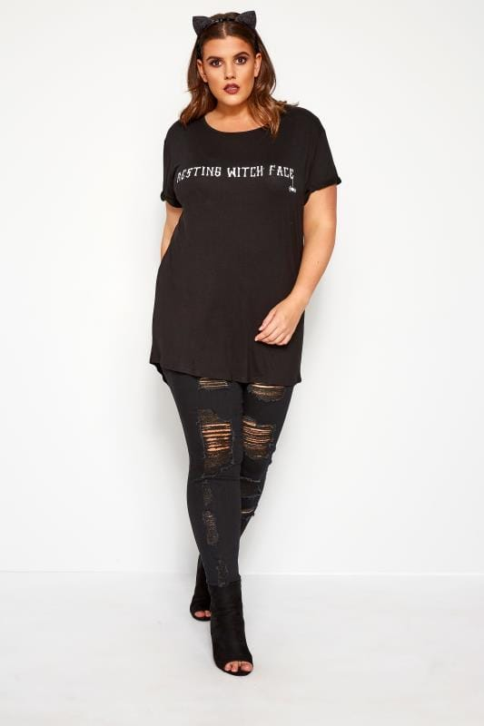 Black 'Resting Witch Face' Slogan T-Shirt