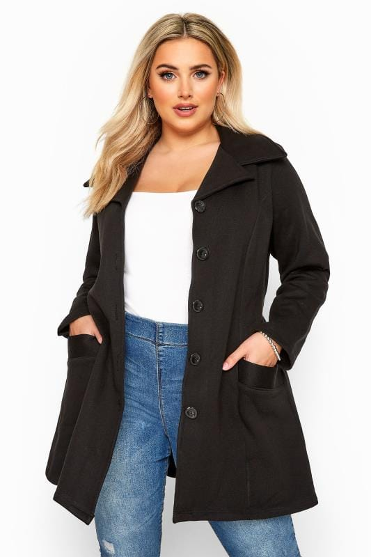 Plus Size Coats Black Revere Collar Jersey Coat