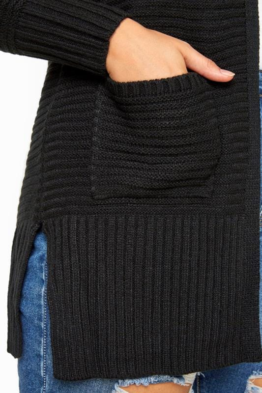 Black Ribbed Cardigan