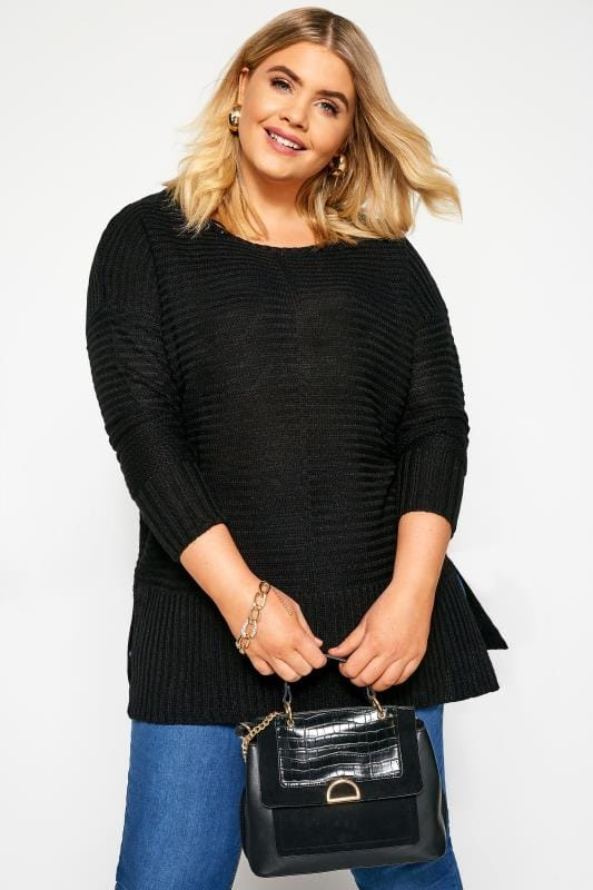 Plus Size Knitted Tops & Jumpers Black Ribbed Knitted Jumper