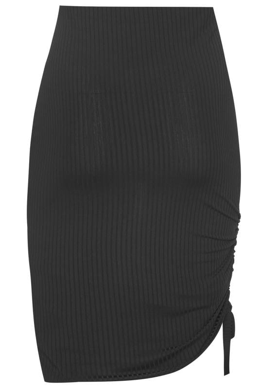 Plus Size Midi Skirts Black Ribbed Ruched Midi Skirt