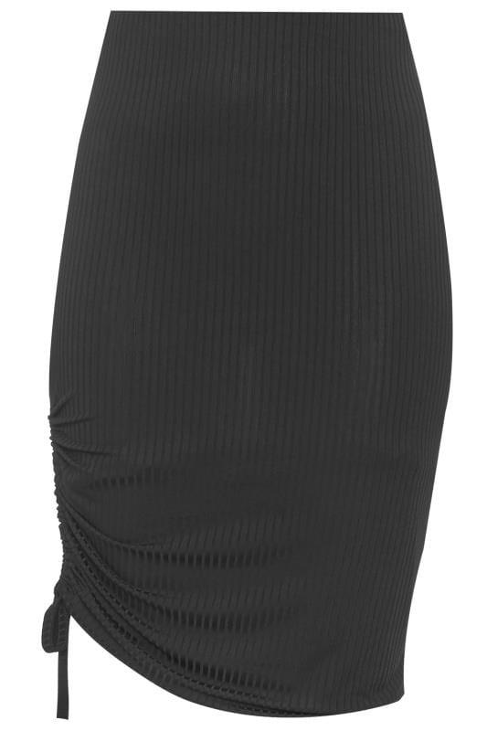 Black Ribbed Ruched Midi Skirt