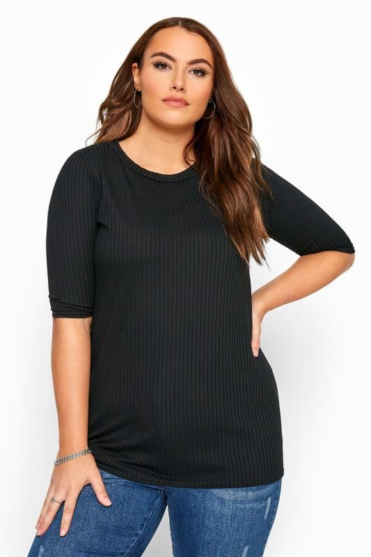 Plus Size Basic T-Shirts & Vests Black Ribbed Top