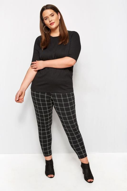 Plus Size Basic T-Shirts & Vests LIMITED COLLECTION Black Ribbed Top