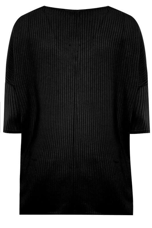 Black V-Neck Ribbed Top