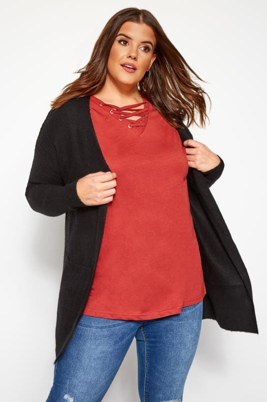 Plus Size Cardigans Black Ribbed Trim Pocket Cardigan