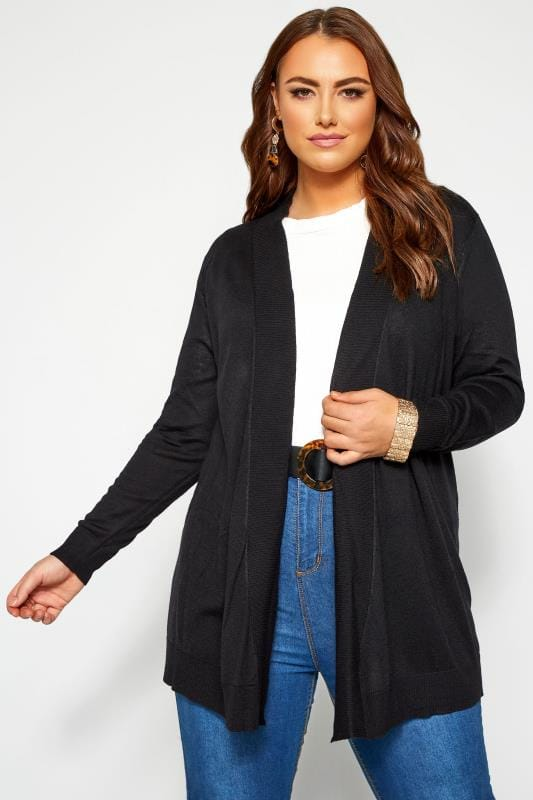 Plus Size Cardigans Black Ribbed Trim Waterfall Cardigan