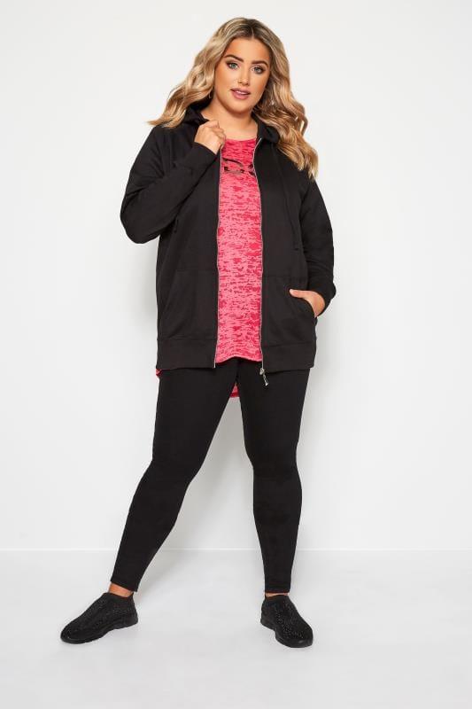 Plus Size Hoodies & Jackets Black Ribbed Trim Zip Through Hoodie