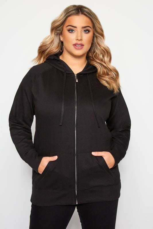 Plus Size Hoodies & Jackets Black Ribbed Trim Zip Through Hoodie