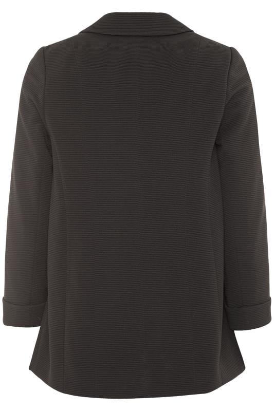 Black Ribbed Zip Pocket Blazer Jacket