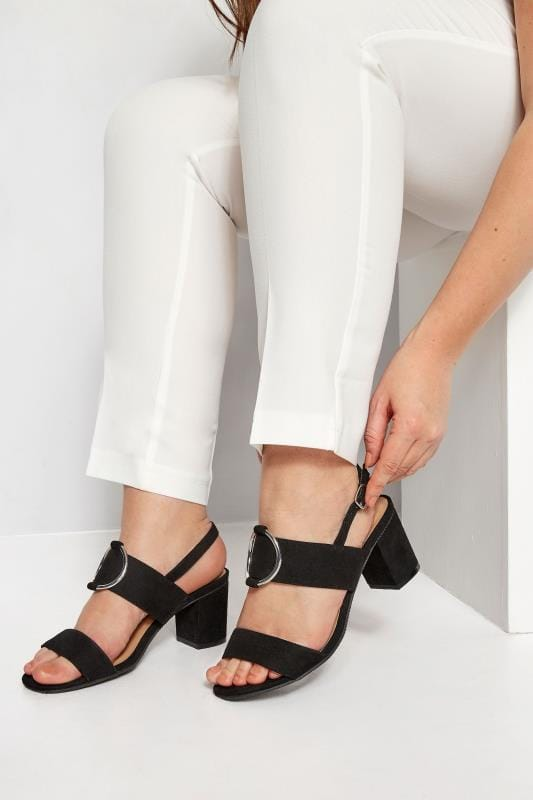 Wide Fit Sandals Black Ring Block Heeled Sandals In Extra Wide Fit