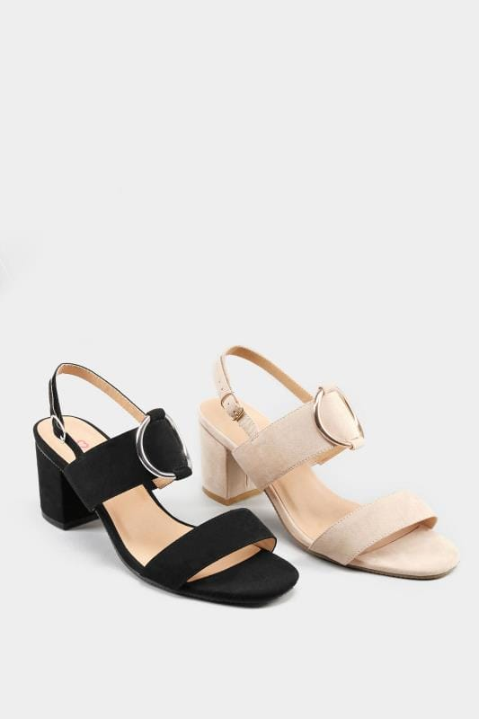Black Ring Block Heeled Sandals In Extra Wide Fit