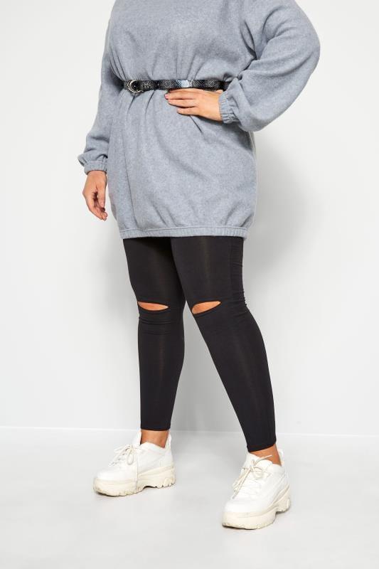 Plus Size Fashion Leggings Black Ripped Knee Leggings