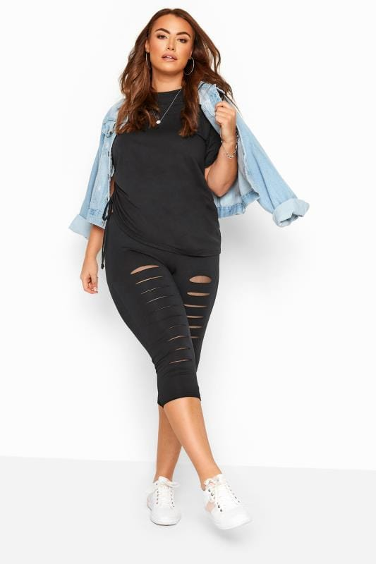 Black Ripped Mesh Insert Cropped Leggings