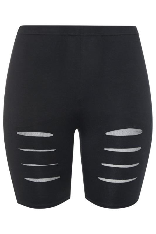 Black Ripped Mesh Insert Cycling Shorts